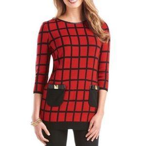 Mud Pie red windowpane check tunic sweater